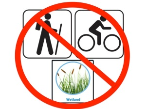 No hiking biking wetlands
