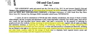 Oil and Gas Lease agreement